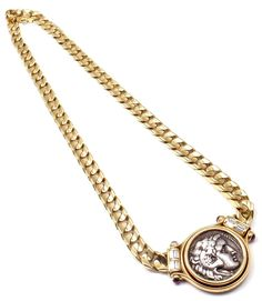 bulgari large ancient roman coin ruby diamond gold link necklace