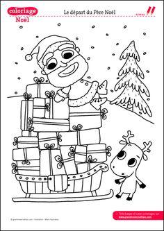 Coloriage de no l distribution cadeau noel no l - Coloriages noel maternelle ...