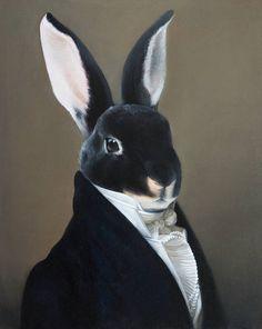 Realistic Drawings Rabbit Portrait Original Bunny Portrait Oil Painting Realistic Gift Home Decor Animal Portrait Fine Art Painting Modern Art