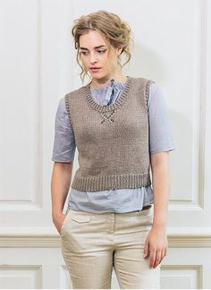Knit this ladies stylish round neck vest, designed exclusively for Knitrowan by Sarah Hatton. Using our wonderful draping yarn Cotton Lustre (linen, cotton and nylon), this round neck top is perfect for layering over a shirt or blouse | English Yarns