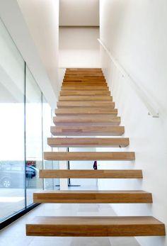 Wallclimber Oak moderne trap met zwevende eiken treden