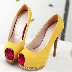 Shopify provides a reliable Ecommerce platform so you focus on selling online! Yellow High Heels, Yellow Pumps, Super High Heels, Peep Toe Platform, Peep Toe Heels, Pump Shoes, Heeled Boots, Christian Louboutin, Wedges
