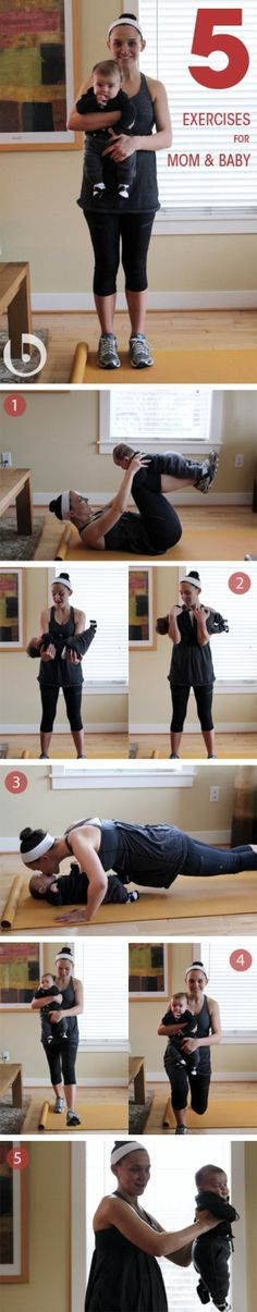 5 Exercises For Mom and Baby.  Anyone taking in bets as to whether or not I can do these without pinching any nerves or causing other injuries to myself.
