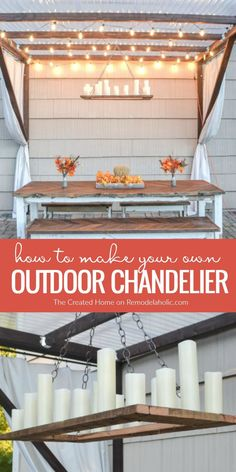 This Restoration Hardware inspired outdoor chandelier is the perfect complement to any dining area (indoors or out) and it looks stunning with a pergola! Get the tutorial from The Created Home on http://Remodelaholic.com