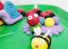 Fondant Worm Bug Cake Toppers for a Garden Party 16 pieces with bugs, caterpillars, bumblebees, ladybugs, dragonflies, snails. $21.60, via Etsy.
