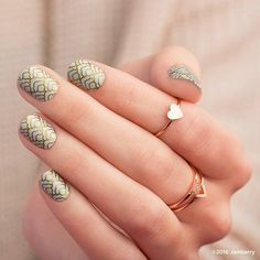 The timeless gold-on-white design in #CloudNineJN is perfectly suited for any holiday affair. #SistersStyle #Exclusive #nailwraps #diynails #nailart  https://jamwithalyssajo.jamberry.com/us/en/