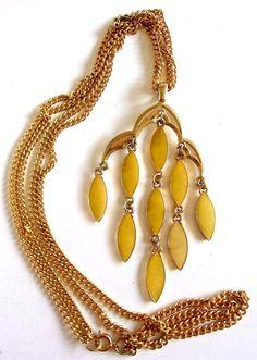 Yellow Enamel Dangle Pendant Necklace Gold Tone by RenaissanceFair