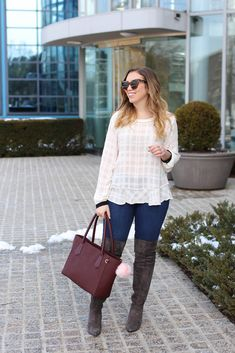 LOFT Sheer White Peplum Top | LOFT Skinny Jeans | Gray Suede OTK Boots | Dagne Dover Oxblood Work Tote | Spring Transition Outfit