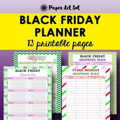 Black Friday Planner Printable Get ready for the 2017 Christmas season with this printable shopping planner for Black Friday and Cyber Monday. This kit includes a shopping list for Thanksgiving, Black Friday and Cyber Monday, printable holiday shopping planners, a printable Christmas gift planner and so much more! https://www.etsy.com/listing/548574203