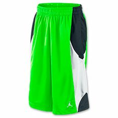 Men's Jordan Durasheen Basketball Shorts | FinishLine.com | Flash Lime/Black/White