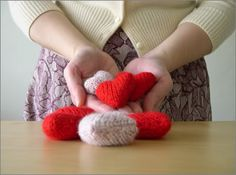 Knitted hearts for St. Valentine's Day