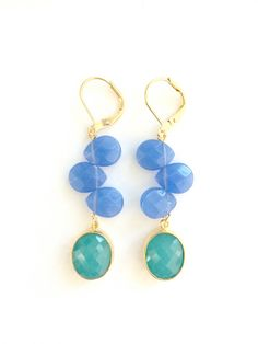 Light Periwinkle and Turquoise Green Framed Drop Dangle Earrings