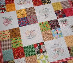 Quilt pattern idea for embroidery squares + fabric The Way I Sew It: Fruit and Veggie Quilt Finish