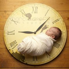 Newborn Picture Ideas: Hour, Min., & Second hand on the month, date and year baby was born!