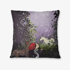 "#rainydays ""Unicorn Forest"" #pillow - available on The Mutiny, design by #MaraLiem http://wearethemutiny.com"