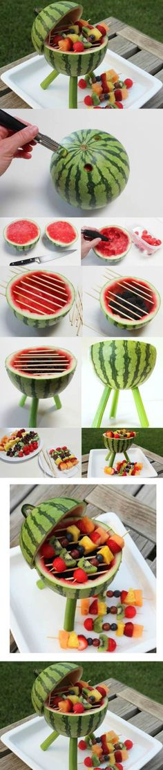 DIY. Watermelon carved unique with fruit kabobs   How COOL
