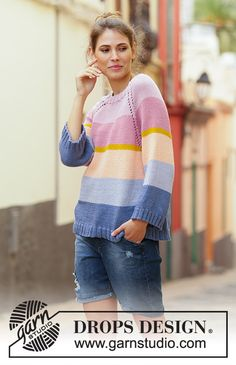Sonora Sunrise Sweater - Knitted jumper with raglan in DROPS Paris. Piece is knitted top down with stripes. Size: S - XXXL. Free knitted pattern DROPS 201-33