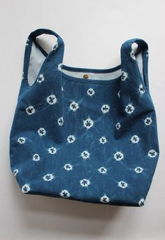 Dotted Shibori Plant Dyed Cotton Tote Bag Japanese Bag by Rejell