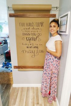 WE GO AGAIN pregnancy announcement, creative ways to announce you're pregnant, kraft wall pregnancy countdown.pregnancy announcement, creative ways to announce you're pregnant, kraft wall pregnancy countdown. Pregnancy Countdown, Pregnancy Tips, Butcher Paper, Future Baby, Playroom, House Plans, Kids Room, Ikea, Sweet Home