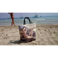 Tote bag Adam, Michelangelo painting printed, Beach bag, trendy,... ($184) ❤ liked on Polyvore featuring bags, handbags and tote bags