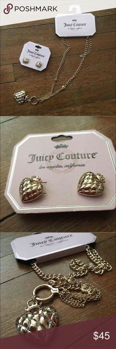 Juicy couture NWT set heart neckless earrings gold Gold color neckless and stud earrings heart shaped with crystals brand new never worn with tags Juicy Couture Jewelry Necklaces