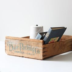 vintage wood packaging crate / industrial box storage by AMradio, $32.00