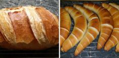 Bread, rolls and croissants (from a dough) Healthy Homemade Bread, Homemade Breads, Croissant Bread, Ciabatta, Winter Food, Hot Dog Buns, Baked Goods, Cake Recipes, Biscuits