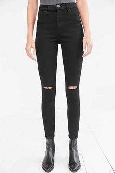 BDG Twig Ripped High-Rise Skinny Jean - Black - Urban Outfitters