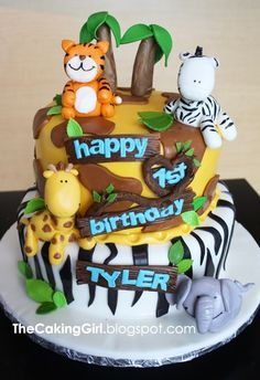 Here's a Jungle Themed Birthday Cake for a boy turning 1!     There's a heart in there somewhere, can you see it? :)