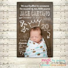 Cute Birth announcements Little Prince digital Birth Announcement by MagicbyMarcy on Etsy, $23.00