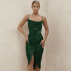Satin Bodycon Dresses Ruched Backless Midi Dress #satinbodycondresses #ruchedbacklessmididress Sexy Long Dress, Long Summer Dresses, Sexy Party Dress, Green Satin Dress, Green Midi Dress, Satin Bodycon Dress, Satin Dresses, Dresses For Less, Party Dresses For Women
