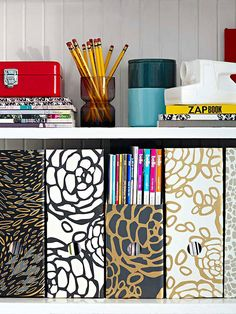 Jazz up your office supplies with fun, patterned paper! More storage solutions: http://www.bhg.com/decorating/budget-decorating/cheap/decorate-with-what-you-have/?socsrc=bhgpin011114jazzupofficesupplies&page=16