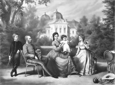 "Lithography depicting the Hungarian royal family at Gödöllő Palace. King Franz Joseph I & Queen Elisabeth Amalie Eugenie ""Sissi"" with their children Rudolf Marie Valerie & Gisela in Kaiser Franz Josef, Franz Josef I, Hotel Beau Rivage, Austria, Joseph, Empress Sissi, Die Queen, Last Child, Rare Pictures"