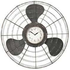 The Earhart Wall Clock from Urban Barn is a unique home decor item. Urban Barn carries a variety of Clocks and other products furnishings. Unique Home Decor, Home Decor Items, Antique Fans, Fan Decoration, Modern Leather Sofa, Clock Art, Wall Clocks, Urban Barn, Metal Ceiling