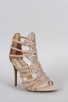 Anne Michelle Glitter Strappy Rhinestone Stiletto Heel