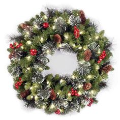 National Tree Crestwood Spruce Wreath with Silver Bristle, Cones, Red Berries and Glitter, 24-Inch