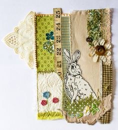 Hare collage, embroidery appliqué and more