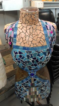 The Lady Coonara, still not quite decently covered, will need a few more sessions. Community Housing, Captain Hat, Mosaic, Lady, House, Home, Haus, Mosaics, Houses