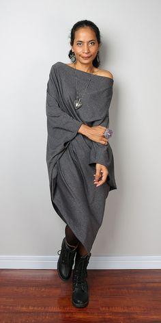Grey Sweater Dress / Top grey Batwing Tunic / Top Dress от Nuichan