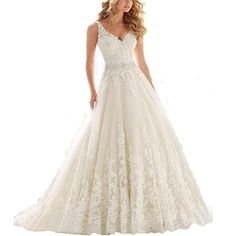 Yinyyinhs Womens Beaded V Neck Lace Appliques Wedding Dress Size 14 White * To view further for this item, visit the image link.