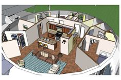 Image: Interior plan — The Callisto has a diameter of 50 feet, a height of 16.5 feet and a living area of 1,964 square feet.