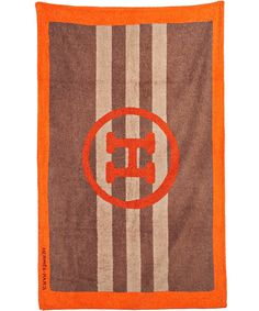 Hermes brown terry stripe H beach towel