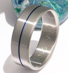 Blue Titanium Wedding Band  b34 by TitaniumRingsStudio on Etsy