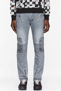 FACETASM Grey Zippered Parachute Jeans