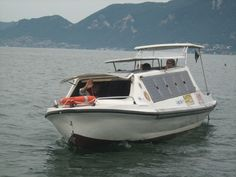 """""""Davide"""" electric boat on Iseo lake, Italy"""