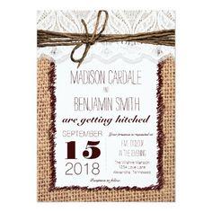 Rustic Country Burlap Print Wedding Invitations Invite