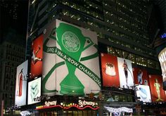 Times Square in New York Was Paying Tribute To The Famous Glasgow Celtic Becoming Champions For The Eighth Time In A Row. Celtic Fc, Now And Forever, Glasgow, Light Up, The Row, New York City, Times Square, Paradise, Soccer