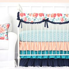 Everly's Garden Ruffle Baby Bedding | Coral and Navy Floral Crib Rail Cover