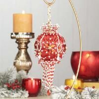 "Makes Set of 4 /""Winter Ice/"" Sunrise Crafts Sequin /& Bead Satin Ornament Kit"
