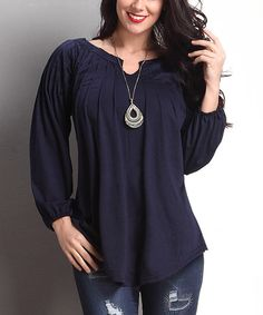 Look at this #zulilyfind! Navy Notch Neck Tunic - Plus #zulilyfinds